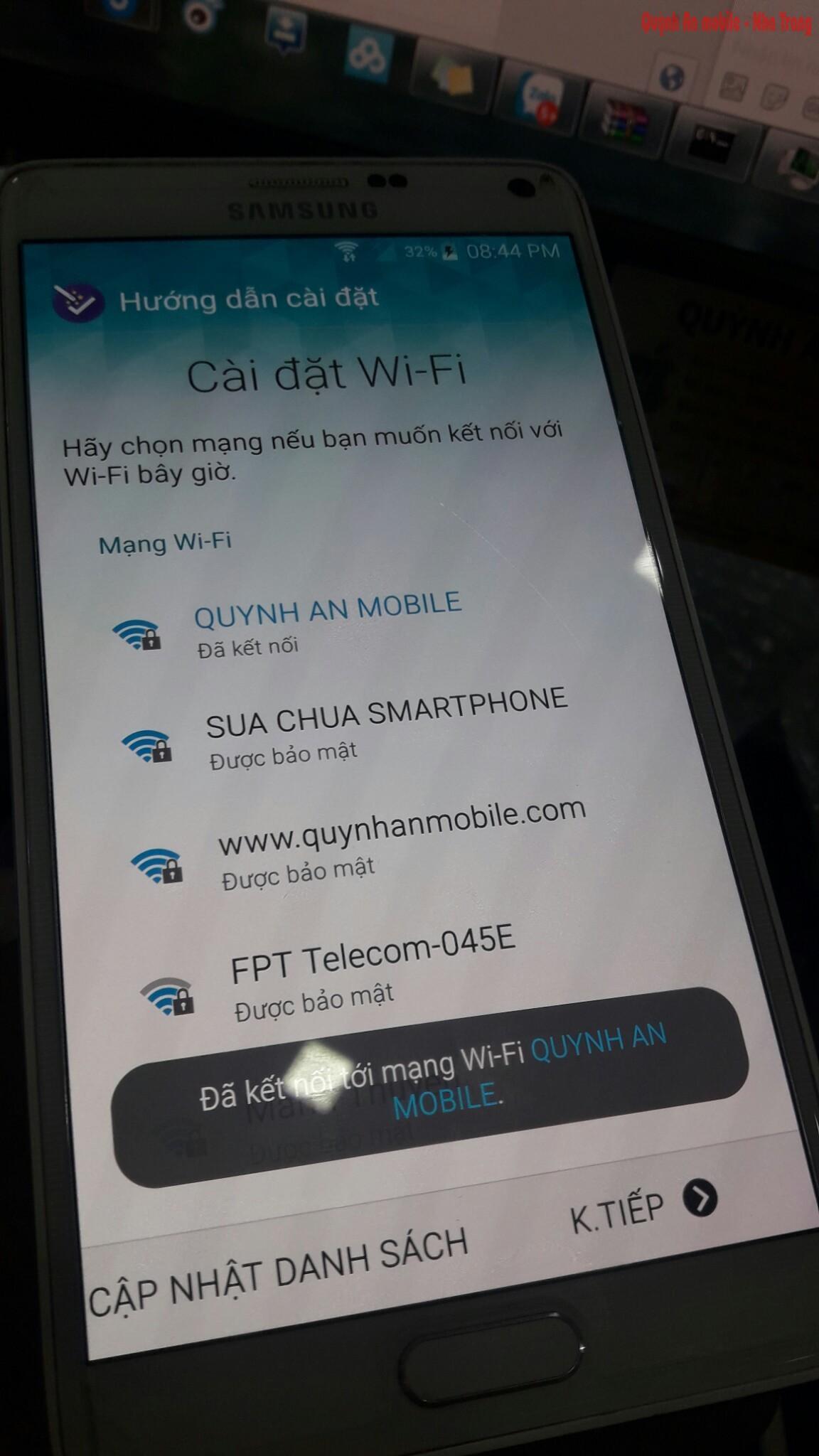 Sau khi xóa tài khoản Samsung trên note 4 verizon SM-N910V tại Quỳnh An mobile