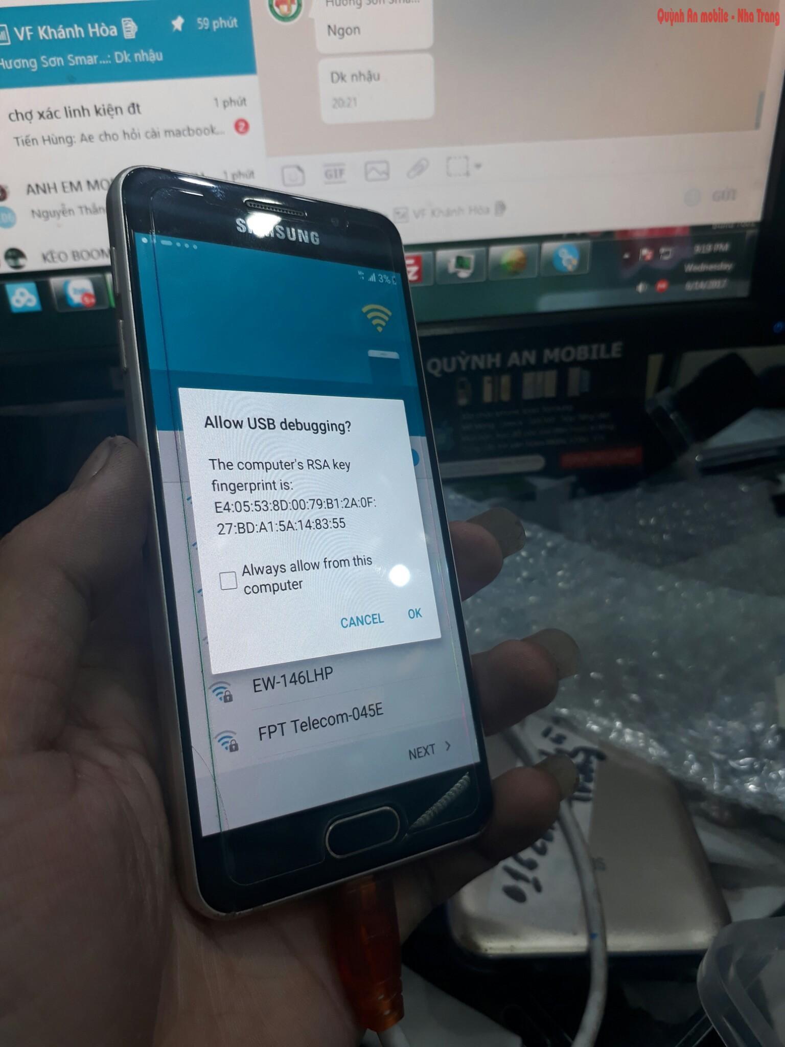 Xóa xác minh tài khoản google A3 2016 bằng thiết bị chuyên dụng tại Quỳnh An Mobile